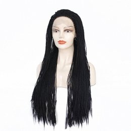 twisted wig UK - Brown Black Box Braided Lace Front Wigs With BabyHair Synthetic Fiber Wigs Thick Full Hand Synthetic Hair Micro Havana Twist Wig XMXl#