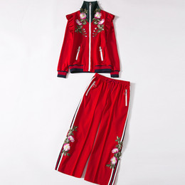 Wholesale 2019 Spring Ladies Casual Suit Red Shirt Loose Bell Pants Exquisite Embroidery High Collar Designer Knit Suit Casual Wear Womens Sports Suit