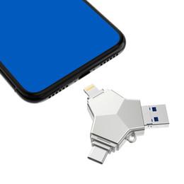 Flash Drives 64gb 128gb UK - Lightning+type-c+micro USB+Usb 3.0 32GB Flash Memory Usb 64GB 128GB Mini Metal USB Flash Drives Memory Stick for iPhone