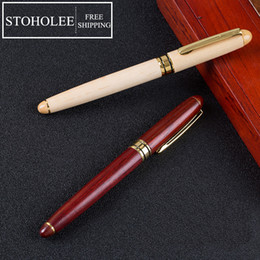 ball suppliers UK - HotFree Shipping Top Quality Wooden Roller Ball Pen Novelty Stationery Office School Suppliers Metal Signature Wood Ballpoint Pen