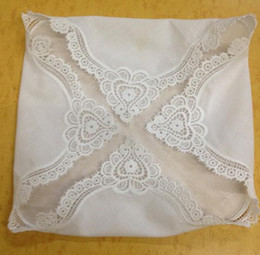 "lace handkerchiefs UK - HomeTextiles Ladies Handkerchief White soft 100%cotton Wedding Handkerchief 12PCS lot 12x12""Elegant Embroidered crochet lace edges For"