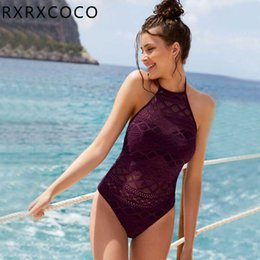 $enCountryForm.capitalKeyWord Australia - Sexy Lace Swimsuit Women Hollow One Pieces Swimwear Female Padded Monokini Halter Bandage Bathing Suit Backless Bather Swim Wear Y19072601