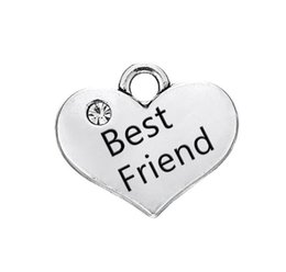 $enCountryForm.capitalKeyWord UK - JF114 New Arrival DIY Fashion Jewelry Silver Plated Crystal Heart Shaped Best Friend Letters for Bracelets Charms Pendant