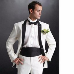 Images Classic Suit Design Australia - New Classic Design Groom Tuxedos Groomsmen Ivory Peak Lapel Best Man Suit Wedding Men's Blazer Suits (Jacket+Pants+Tie) 1235