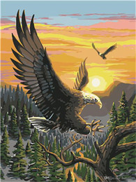 Framed Eagle Painting Australia - 16x20 inches Eagle Sunset Homing Forest Scenery DIY Paint By Numbers Kits On Canvas Art Acrylic Oil Painting