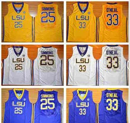 f7e216df683 University Basketball LSU Tigers Jerseys 33 Shaquille ONeal O Neal 25 Ben  20 Simmons Jersey Men College Yellow Team Purple Away White Sports
