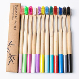 rainbow products wholesale NZ - Disposable Bamboo Toothbrush Eco-Friendly Product Vegan Tooth Brush Rainbow Black Wooden Soft Fibre Adults Travel Set For Oral Care