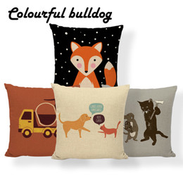 chairs skull Australia - Elephant Dog Cat Fox Cushion Covers Rainbow Giraffe Shark Skull Pillow Case Farmhouse Chair Home Decor Dakimakura 45X45Cm Burlap