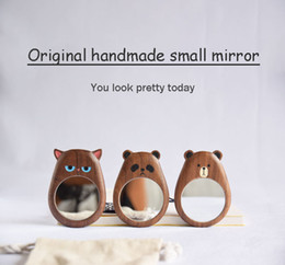 decorative makeup Canada - Original design high quality solid wood portable mirror makeup mirror custom creative gift portable mini makeup mirror gifts