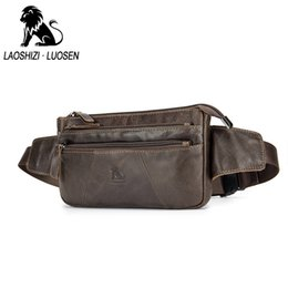 256c5eab88b6 LAOSHIZI LUOSEN Mens Genuine Leather Waist Packs Men Fanny Pack Belt Bag  Phone Pouch Bags Travel Waist Pack Male Small Bag