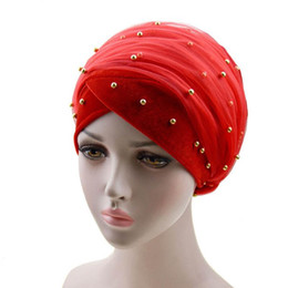 Wholesale green headtie resale online - Headband turban headscarf turban hijab cap scarf hat nigerian gele headtie with bead hele african aso ebi gele aso oke headtie
