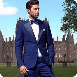 $enCountryForm.capitalKeyWord NZ - Custom Made Blue Suits for Groom Wedding Tuxedos Men Suits Man Blazer Smoking Jacket 2piece Evening Party Handsome Groomsmen Jacket Pants