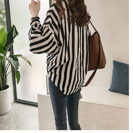 chic plus size clothes Australia - Autumn Clothing New Style Shirt Women's 2019 Hong Kong Flavor Loose And Plus-sized BF Stripes Long Sleeve Shirt CHIC Tops Thin C