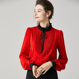 Wholesale high ruffle collar blouse resale online - Women s Runway Shirts Silk Blends Ruffles Stand Collar Long Sleeves Fashion Casual High Quality Shirt Blouse Top