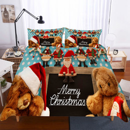 bedding set merry christmas Australia - merry Christmas teddy bear bedding set luxury cute cartoon bed linens Duvet Cover Quilt cover Pillowcase Home Textiles 2 3pcs
