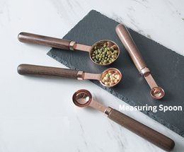 Measuring scoop set online shopping - 4pcs set Rose Gold Stainless Steel Wood Handle Measuring Spoons Tea Coffee Scoops Baking Tools
