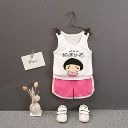 $enCountryForm.capitalKeyWord NZ - 2Pcs Set 2019 Summer Baby Boys Girls Casual Sleeveless Cartoon Words Print T-shirt Tops+Shorts Suits Costume Set
