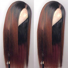 tone color 14 hair Australia - Ombre Color Two Tone Glueless Full Lace Human Hair Wigs 150 Density Silky Straight Brazilian Lace Front Wig With Baby Hair