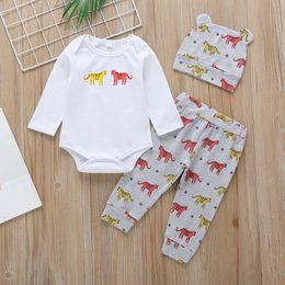 Quarter Suits Australia - 2019 New Arrival Kids Rompers Suits Pants Hat 3pcs Set Children Boys Girls Jumpsuits Tiger Animal Printing Floral Pants With Factory Price