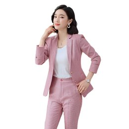 pink suit jacket women UK - Elegant Formal Office Work Wear OL Single Breasted Women Pant Suit Pink Plaid Notched Blazer Jacket Pant Lady Suits 2Pieces Set