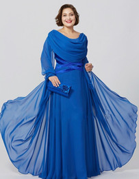 China Royal Blue Chiffon Mother Of The Bride Dresses Jewel Neck Long Sleeve Plus Size Evening Dress Floor Length Formal Party Gowns supplier mother bride royal blue suit suppliers