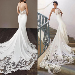 Wholesale stunning dress straps resale online – Stunning Goegeous White Lace Wedding Dresses with Spaghetti Straps Mermaid Applique Sequin Beaded Court Train Bridal Gowns Plus size