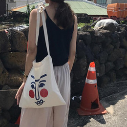 Cute Canvas Handbags Australia - INS Women Canvas Shoulder Bag - Cute Blush Face Shopping Bag Female Tote Bolso Convenience ECO Grocery Handbag Gift