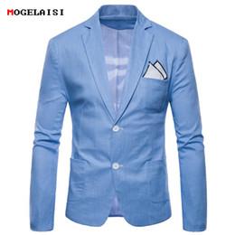 Men White Linen Casual Suits Australia - Blazers Mens Suits Flax Plus Size M-4xl Chest 92-116cm Slim Full Sleeve Men Suit Linen Cotton Solid Casual Autumn Suits 9612 Y190420