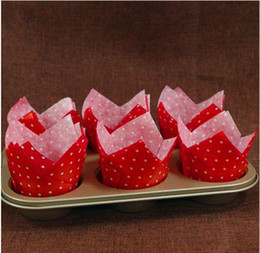 Tulip Cupcakes NZ - 50pcs Paper Cupcake Liners Tulip Muffin Wraps with Dots Cups for Wedding Party Patty Cases Baking Tools Cup Cake Liner