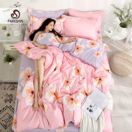 Discount pink brown bedding for adults - ParkShin Pink Bedding Set Double Size Duvet Cover Set Flat Sheet For Adult Student Bed Linen Bedspread Decor Home Textil