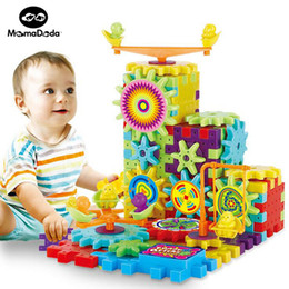 Kids Educational Gifts NZ - educational 81 Pieces Electric Gears 3D Puzzle Building Kits Plastic Bricks Educational For Kids Toys For Children Christmas Gift