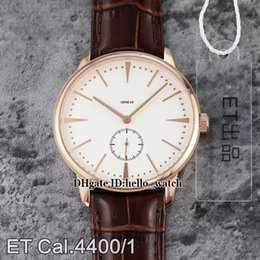 cheap white roses Australia - Cheap New Patrimony 1110U 000R-B085 White Dial Cal.4400 1 Mechanical Hand-winding Mens Watch Rose Gold Case Leather Strap Gents Watches