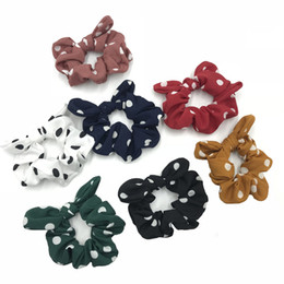 $enCountryForm.capitalKeyWord UK - 35 PCS lot Hot Sale Polka Dot Scrunchies With Bunny Ear Women's Hair Scrunchies Hair Rubber Band Hairband Pony tail Holder Hair Accessories