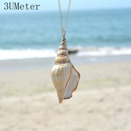 $enCountryForm.capitalKeyWord Australia - 3UMeter Summer Style Natural Starfish Conch Sea shell Necklace Pendant For Women Collier Femme Shell Jewelry Gift Drop Shipping