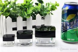 Acrylic Eye Cream Jar Australia - 15g square acrylic cream jar packaging bottle with black lid High Quality square shaped Acrylic Jar