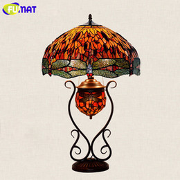 dragonfly garden lights NZ - FUMAT Stained Glass Table Lamp European Style Classic Garden Rose Grape Dragonfly Bedside Lamp Living Room Hotel Table Lights