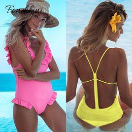 $enCountryForm.capitalKeyWord NZ - 2019 Sexy Shoulder Ruffle One Piece Swimsuit Women Swimwear Female Halter Bathing Suits Beach Wear Backless Monokini Swim Suits Y19052002