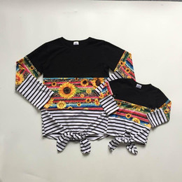 stripe clothes mom Australia - Mommy and baby girls clothes fall raglans sunflower print raglans baby and mom clothes mommy me multicolor stripe clothing