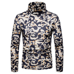Chinese  Chinese Lucky Cloud Print Men High Neck Long Sleeve Jumper Slim Pullover Top new manufacturers