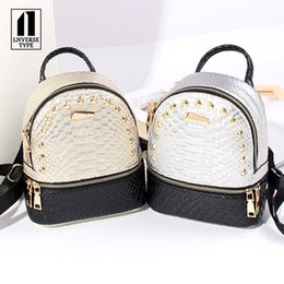 Styles Backpacks Australia - women backpack Crocodile pattern leather school bags for teenager girls stone sequined female preppy style small backpack 3color