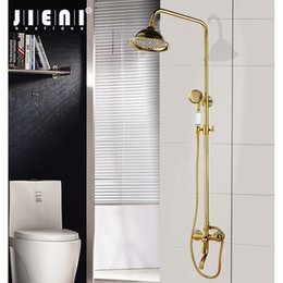 shower set spray handle Australia - wholesale Luxury Wall Mounted Gold Plated Soild Brass Shower Faucet Set Single Ceramic Handle Tub Mixer Hand Shower Spray