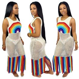 2c2ce874189 Rainbow maxi dResses online shopping - Rainbow Tassel Sexy Beach Boho Dress  Women Fishnet Hollow Out