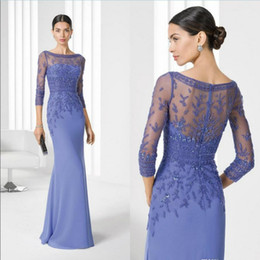 la robe UK - Robe Mere De La Mariee Lace Mother of The Bride Dresses Long Sleeves Appliques Groom Godmother Evening Dress For Wedding