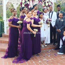Plus Size Wedding Dresses Dark Purple Australia - Purple Mermaid Bridesmaid Dresses 2019 Spaghetti Sweep Train Appliques Plus Size Garden Country Wedding Guest Gowns Maid Of Honor Dress