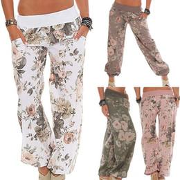88b10964783 women Floral Print pants Casual Wide Leg Long Casual Loose Elastic Waist  Trousers Flower Print Boho Pants LJJK1392