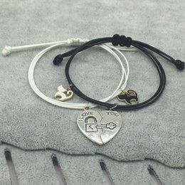 black cat ceramic UK - New Fashion Couple Bracelet Stitching Heart Bracelets Women Cute Cat Pendant Romantic Valentine's Day present for Lovers