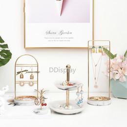 $enCountryForm.capitalKeyWord Australia - [DDisplay]Mini Marble Pattern Rings Metal Stands Creative Double Layers Marble Resin Trays Earrings Jewelry Display Necklace Storage Rack