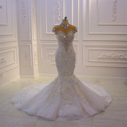 $enCountryForm.capitalKeyWord Australia - 2020 Luxury African Wedding Dress Mermaid High Neck Lace-up Rhinestone Crystal Flowers Sweep Train Bridal Gowns