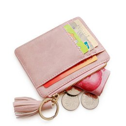 Pink cute wallet online shopping - Matt Leather Mini Tassel Women Card Holder Cute Credit ID Card Holders Zipper Wallet Case Change Coin Purse Keychain Nubuck New