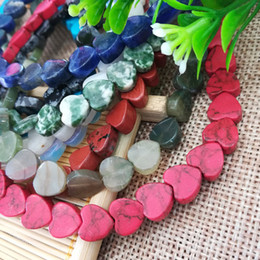 Heart Shape Flowers Australia - 5PCS Lot Heart Shape Spacered Natural Stone Beads for DIY Jewelry Making Black Blue Green Red Claret White